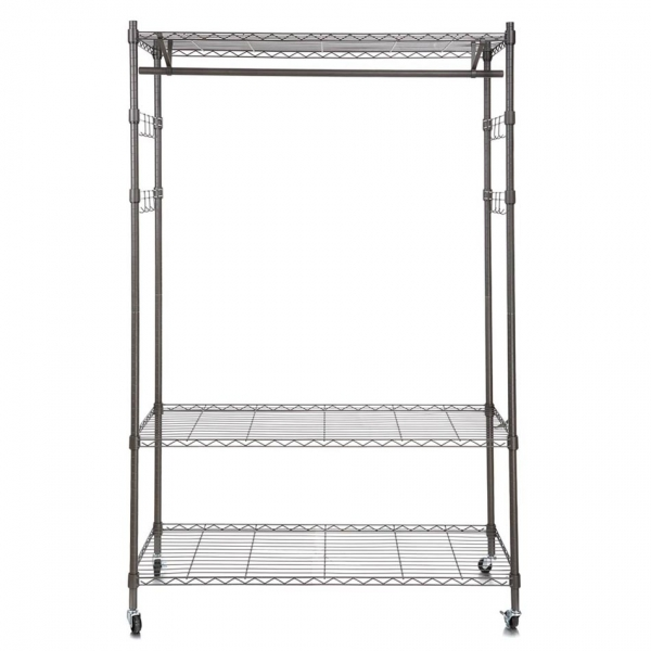 homdox heavy duty wire shelving garment rack with hanger bar wheels and 2 pair side hooks gray