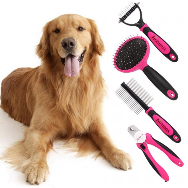 homdox 4 pieces dog grooming kit nail clipper slicker brush double sided comb open knot comb suit for middlelarge dogs home grooming set